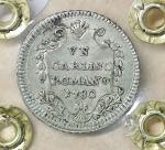 reverse: Stato Pontificio. Pio VI (1775-1799). Carlino 1780 A. VI. 2.85 gr. – 21.6 mm. CNI 74; Munt. 87. Raro. SPL+