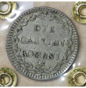 reverse: Stato Pontificio. Pio VI (1775-1799). 2 Carlini A. X. 5.55 gr. – 26.7 mm. CNI 147; Munt. 77. Rara. SPL