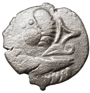 obverse: EASTERN CELTS. 3rd-2nd century BC. Tetradrachm. Silver, 24,9 mm - 8.15 gr.  Kugelwange  type. O:\ Celticized laureate head of Zeus to right. R:\ Horse galloping left; above, circlet; below, cross. Flesche 615 var. Göbl OTA pl. 17, 193/3. Lanz 466. VF