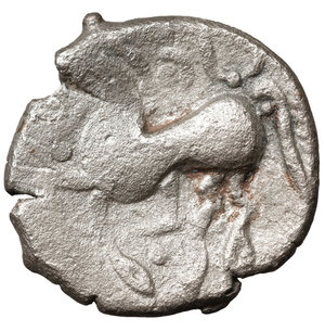 reverse: EASTERN CELTS. 3rd-2nd century BC. Tetradrachm. Silver, 24,9 mm - 8.15 gr.  Kugelwange  type. O:\ Celticized laureate head of Zeus to right. R:\ Horse galloping left; above, circlet; below, cross. Flesche 615 var. Göbl OTA pl. 17, 193/3. Lanz 466. VF