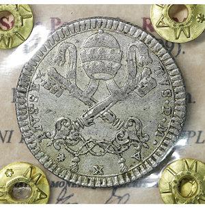obverse: Stato Pontificio. ROMA. Pio VI (1775-1799). 2 Carlini A. X. Mi 5.65 gr. – 27.0 mm. CNI 147; Munt. 77.  Rara. SPL