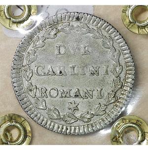 reverse: Stato Pontificio. ROMA. Pio VI (1775-1799). 2 Carlini A. X. Mi 5.65 gr. – 27.0 mm. CNI 147; Munt. 77.  Rara. SPL