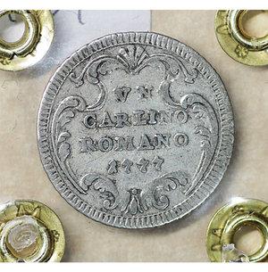 reverse: Stato Pontificio. Roma. Pio VI (1775-1799). Carlino 1777 A. III. 2.65 gr. – 21.2 mm. CNI 34; Munt. 86. SPL
