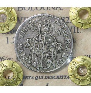 obverse: Stato Pontificio. BOLOGNA. Pio VII (1800-1823). Grosso 1816 A. XVII. 1.25 gr. – 18.3 mm. Pag. 96/a; Mont.116/117. Raro. SPL