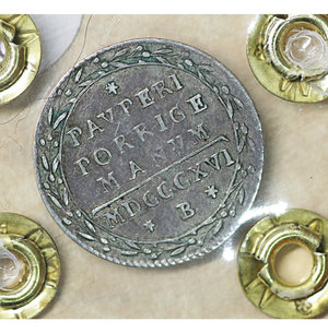 reverse: Stato Pontificio. BOLOGNA. Pio VII (1800-1823). Grosso 1816 A. XVII. 1.25 gr. – 18.3 mm. Pag. 96/a; Mont.116/117. Raro. SPL