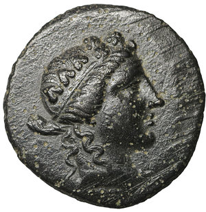 obverse: Kings of Bithynia. Prusias II Cynegos (182-149). Bronze. AE 5.25 gr. – 21.00 mm. O:\ Wreathed head of Dionysos right. R:\ BAΣIΛEΩΣ ΠΡΟYΣIAΣ. The centaur Chiron standing right, playing lyre; monogram below foreleg. RG 26; SNG Cop 635. XF