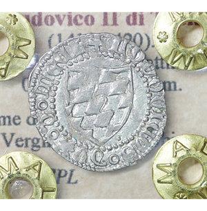obverse: AQUILEIA. Ludovico II di Teck (1412-1420). Soldo da 12 bagattini. 0.62 gr. – 17.3 mm. D:\ Arme del Patriarca. R:\ La Vergine con il Bambino Biaggi 193. SPL