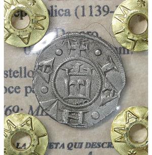 obverse: GENOVA. Repubblica (1139-1339). Denaro. 0.8 gr. – 15.8 mm. D:\ Castello. R:\ Croce patente. CNI 1/69; MIR 16. SPL