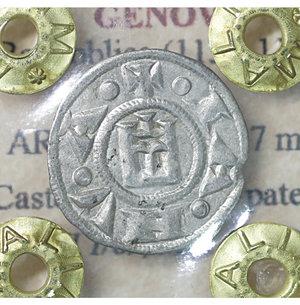 obverse: GENOVA. Repubblica (1139-1339). Denaro. AR 0.81 gr. – 16.7 mm. Castello /R Croce patente. CNI 1/69; MIR 16. SPL
