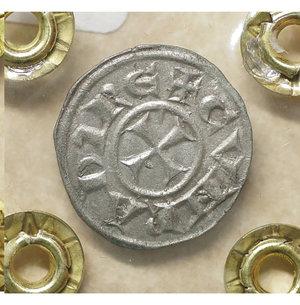 reverse: GENOVA. Repubblica (1139-1339). Denaro. 0.85 gr. – 17.1 mm. O:\ Castello. R:\ Croce patente. CNI 1/69; MIR 16. SPL
