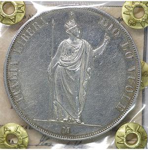 obverse: MILANO. Governo Provvisorio (1848). 5 Lire 1848. AR 24.90 gr. – 37.4 mm. Pag. 213; Mont. 425. SPL+