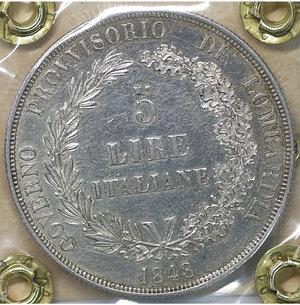 reverse: MILANO. Governo Provvisorio (1848). 5 Lire 1848. AR 24.90 gr. – 37.4 mm. Pag. 213; Mont. 425. SPL+