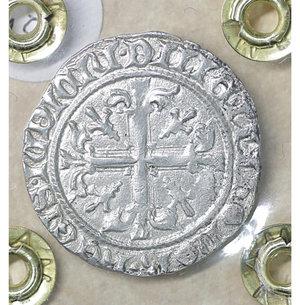 reverse: NAPOLI. Roberto d Angiò (1309-1343). Gigliato. 3.95 gr. – 25.1 mm. Il Re seduto in trono /R Croce gigliata P.R. 1/2; MIR 28. SPL