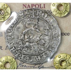 obverse: NAPOLI. Roberto d Angiò (1309-1343). Gigliato. 3.98 gr. – 26.9 mm. Il Re seduto in trono /R Croce gigliata P.R. 1/2; MIR 28. SPL
