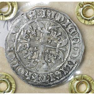 reverse: NAPOLI. Roberto d Angiò (1309-1343). Gigliato. 3.98 gr. – 26.9 mm. Il Re seduto in trono /R Croce gigliata P.R. 1/2; MIR 28. SPL