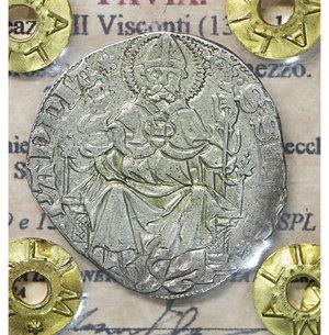 obverse: PAVIA. Galeazzo II Visconti (1359-1378). Grosso da un soldo e mezzo. 2.43 gr. – 23.8 mm. D:\ Cimiero con drago tra tizzoni e secchie. R:\ San Siro in trono con pastorale CNI 6/9 e 13/14; MIR 845/1. Raro. SPL