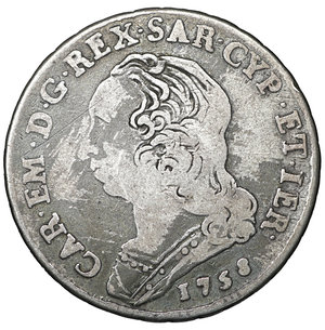 obverse: Regno di Sardegna. Carlo Emanuele III. 1730-1773. 1/4 di Scudo 1758. 8.35 gr. – 29.6 mm. MIR 948°. Raro. BB+