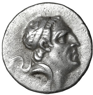 obverse: KINGS OF CAPPADOCIA. Ariobarzanes I Philoromaios, 96-63 BC. Drachm.  AR 4.10 gr. - 17 mm; 12 h. Mint A (Eusebeia), RY 31 = 65/4 BC. O:\ Diademed head of Ariobarzanes to right. R:\ BAΣIΛEΩS / APIOBAPZANOY / ΦILOPΩMAIOY Athena Nikephoros standing left; to inner left, monogram; in exergue, AΛ (date). Simonetta 45a. A good example with a life-like portrait. XF