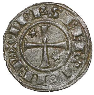 reverse: Regno di Sicilia. BRINDISI. Federico II (1197-1250). Denaro (1248). 0.7 gr. – 16.6 mm. D:\ FR e omega nel campo. R:\ Croce patente con due stelle MIR 294. Rara. SPL+