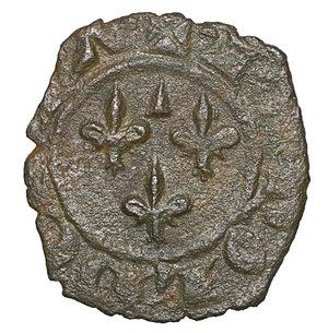 obverse: Regno di Sicilia. BRINDISI. Carlo I d Angiò (1266-1278). Denaro. 0.75 gr. – 14.3 mm. D:\ Nel campo tre gigli. R:\ Croce latina con globetti CNI 225/244; MIR 351. Rara. SPL