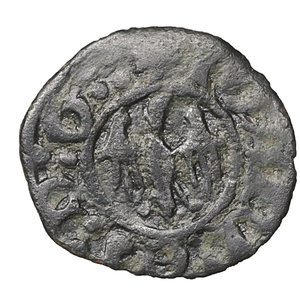 obverse: Regno di Sicilia. Messina. Alfonso I 1415-1458. Denaro MI. gr 0,58. mm 14,7. Spahr 37A , MIR 227. BB\SPL