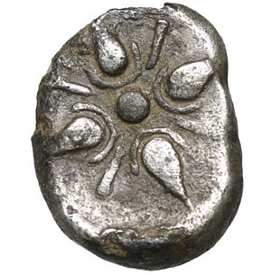reverse: SATRAPS of CARIA. Hekatomnos. 395-377 BC. AR Drachm. 3.50 gr. – 16.1 mm. O:\ Forepart of roaring lion left; EKA above. R:\ Stellate pattern in square incuse. Traité pl. LXXXIX, 19 var. (round incuse); SNG Kayhan 862; SNG von Aulock 2356; SNG Copenhagen 588 var. (round incuse). Cabinet toned. Rare. aXF