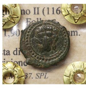 obverse: Regno di Sicilia. Messina. Guglielmo II (1166-1189). Follaro. 1,90 gr. - 14.2 mm. O:\ Testa di leone. R:\ Iscrizione cufica. Spahr 118; MIR 37. SPL