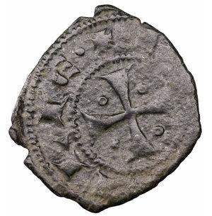 reverse: Regno di Sicilia. Giacomo d Aragona (1285 - 1296). Denaro. 0.60 gr. - 15.9 mm. D:\ Testa del re coronata a sinistra, entro circolo perline. R:\ Croce patente¹ entro circolo perline. MIR 182. BB+