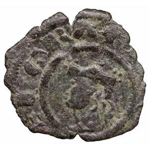obverse: Regno di Sicilia. Giacomo d Aragona (1285 - 1296). Denaro. 0.55 gr. - 14.5 mm. D:\ Testa del re coronata a sinistra, entro circolo perline. R:\ Croce patente¹ entro circolo perline. MIR 182. BB+