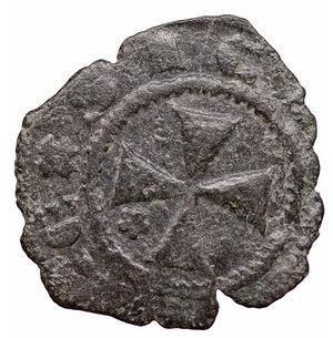 reverse: Regno di Sicilia. Giacomo d Aragona (1285 - 1296). Denaro. 0.55 gr. - 14.5 mm. D:\ Testa del re coronata a sinistra, entro circolo perline. R:\ Croce patente¹ entro circolo perline. MIR 182. BB+