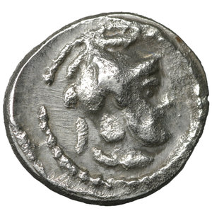 obverse: Cilicia. Tarsos . Datames, Satrap of Cilicia and Cappadocia. 384-360 BC. Hemiobol. AR 6 mm. - 0,35g. O:\ Female head right. R:\ Helmeted and bearded head of Datames right. SNG Levante 82. R. Near Mint State