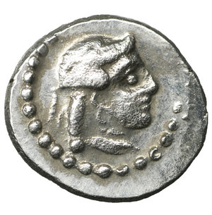 reverse: Cilicia. Tarsos . Datames, Satrap of Cilicia and Cappadocia. 384-360 BC. Hemiobol. AR 6 mm. - 0,35g. O:\ Female head right. R:\ Helmeted and bearded head of Datames right. SNG Levante 82. R. Near Mint State