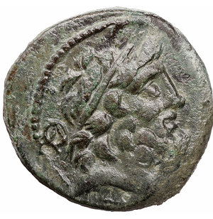 obverse: Cilicia. Elaiousa-Sebaste circa 100-0 BC. Bronze. Æ 21 mm - 7,24 gr. O:\ Diademed head of Zeus right, monogram behind / Nike advancing left, holding wreath and palm, to left, Σ above monogram. SNG France 1133-4; SNG Copenhagen 417. XF