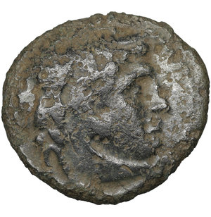 obverse: Ptolemaic Kingdom. Ptolemy IX. 116-107 BC. Bronze. 5.80 gr. – 23.3 mm. Alexandria. O:\ Head of Herakles right wearing lion-skin headdress. R:\ Eagle standing left on thunderbolt, date LΓ in right field. Svoronos 1191. Scarce. VF