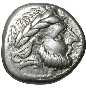 obverse: Eastern Celts, mint in northern Carpathian region. 2nd Century BC. AR Tetradrachm. 11.70 gr. – 23.00 mm. Schnabelpferd type (Horse with beak) imitating Philip II of Macedon. O:\ Stylized laureate head of Zeus right. R:\ Impressionistic horse left. OTA 326var. XF