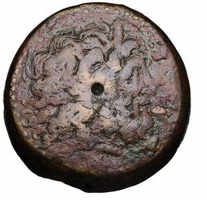 obverse: EGYPT. ALEXANDRIA. PTOLEMY II PHILADELPHOS. 285-246 BC. BRONZE. AE 71,61 gr. - 41,38 mm. O:\ Diademed head of Zeus Ammon to right. R:\ Eagle to left standing on thunderbolt, around PTOΛEMAIOY BAΣIΛEΩΣ. Svoronos 412. VF+