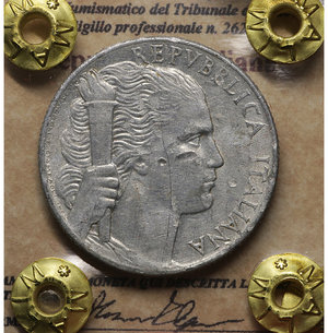D/ Repubblica Italiana. 5 Lire 1949. BB. PERIZIATA