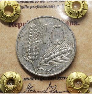 D/ Repubblica Italiana. 10 Lire 1974. qSPL. PERIZIATA