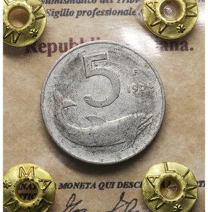 D/ Repubblica Italiana. 5 Lire 1954. BB+. PERIZIATA