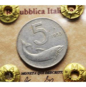 D/ Repubblica Italiana. 5 Lire 1955. BB\SPL. PERIZIATA