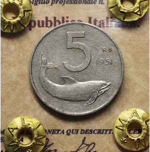 D/ Repubblica Italiana. 5 Lire 1951. BB\SPL. PERIZIATA