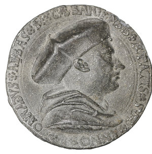 obverse: GERMANY. Kaisersheim (Abtei). Konrad Reutter. 1509-1540. Cast PB Medal. 40mm - 21.59 gr. 12h. By Metthes Gebel. Dated 1527 (in Roman numerals). O:\ CONRADVS ABBAS M CÆSARIENSIS ÆTATIS SVÆ ANNO L, bust right, wearing biretta and mozzetta. R:\ INSIGNIA EIVSDEM IN DOMINO CONFIDO M D XXVII, coat-of-arms surmounter by croizer. Habich 952. Ref. World Coin News, 28 February 1978, p.9. XF. VERY RARE.