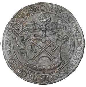 reverse: GERMANY. Kaisersheim (Abtei). Konrad Reutter. 1509-1540. Cast PB Medal. 40mm - 21.59 gr. 12h. By Metthes Gebel. Dated 1527 (in Roman numerals). O:\ CONRADVS ABBAS M CÆSARIENSIS ÆTATIS SVÆ ANNO L, bust right, wearing biretta and mozzetta. R:\ INSIGNIA EIVSDEM IN DOMINO CONFIDO M D XXVII, coat-of-arms surmounter by croizer. Habich 952. Ref. World Coin News, 28 February 1978, p.9. XF. VERY RARE.