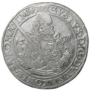 obverse: GERMANY. Sachsen. Augustus (1553-1586). Reichstaler (1571). Dresden. 28.83 g. - 39 mm. O:\ + AVGVSTVS D G DVX SAXONIE SA ROMA IM. Armored half-length bust right, holding sword. R:\ ARCHIMARS CHAL ET ELEC. Garnished coat-of-arms surmounted by three crested helmets. Davenport 9798. XF