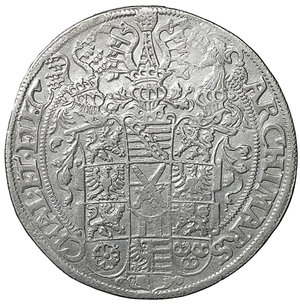 reverse: GERMANY. Sachsen. Augustus (1553-1586). Reichstaler (1571). Dresden. 28.83 g. - 39 mm. O:\ + AVGVSTVS D G DVX SAXONIE SA ROMA IM. Armored half-length bust right, holding sword. R:\ ARCHIMARS CHAL ET ELEC. Garnished coat-of-arms surmounted by three crested helmets. Davenport 9798. XF