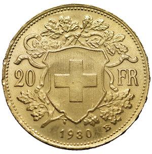 reverse: Switzerland 20 Francs 1930 B Switzerland Coin, Bern, Gold 900 ‰ 6.42 gr – 21.15 mm. KM:35.1. Mintage: 3.371.764 MS