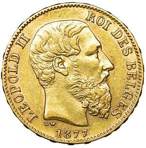obverse: Belgium. Leopold II. 1865-1909. 20 Francs Gold 1877. 6.40 gr. – 21.2 mm. K.M. 37, Friedberg 412. UNC