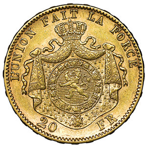 reverse: Belgium. Leopold II. 1865-1909. 20 Francs Gold 1877. 6.40 gr. – 21.2 mm. K.M. 37, Friedberg 412. UNC