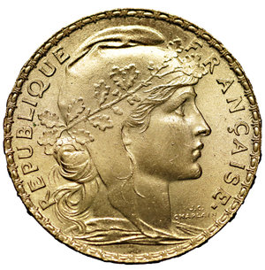 France 20 Francs 1910 *ROOSTER* Gold 900 ‰. 6.51 gr. – 21.25 mm. Mintage: 5,779,000. KM# 847. MS, Lustros