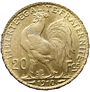 reverse: France 20 Francs 1910 *ROOSTER* Gold 900 ‰. 6.51 gr. – 21.25 mm. Mintage: 5,779,000. KM# 847. MS, Lustros